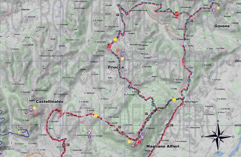 Alba Cartina Geografica.Cartina Generale Dei Sentieri Del Roero Ecomuseo Delle Rocche Del Roero